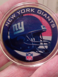 Large 40mm NFL New York Giants Colored, Polished Coin.