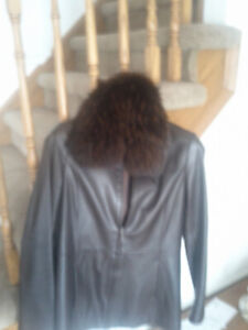 Chocolate brown leather jacket. Size small. Danier.