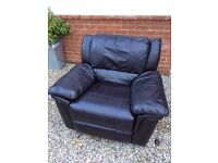 Brown leather swivel recliner