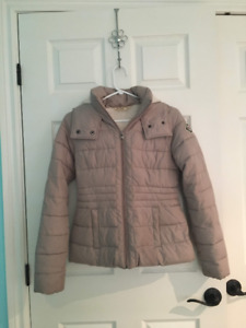 Beige Lined Fluffy Winter Jacket From Hollister