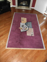 Thick Burgandy Area Rug 5ft x 8ft