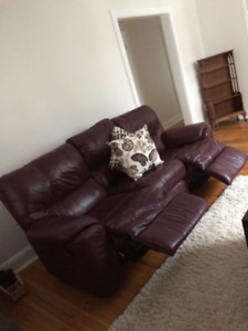 Reclining leather sofa and love seat