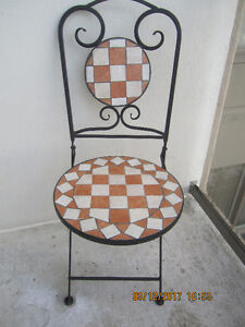 Strong iron  Checkers outdoor folding chair