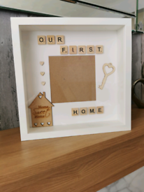 Handmade personalised our first home scrabble photoframe.
