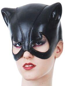 Black Cat Woman Latex Rubber Mask Masquerade Party Batman Costume Fancy Dress