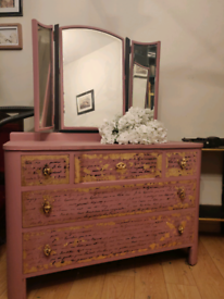 Stunning hand painted pink, gold leaf french writing b'room dresser