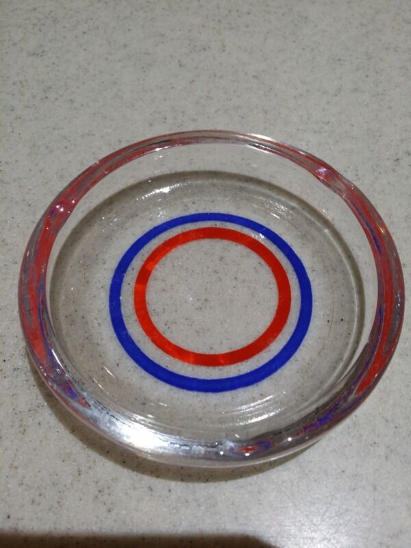Vintage Ash Tray (The New Traymore Hotel?) Blue & Orange Rings - Gators FL