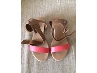 Tan & Coral Sandals