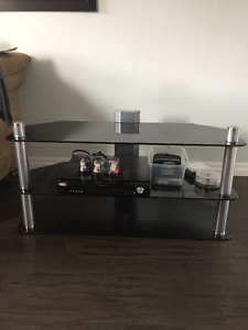 Price Reduced!! 3 Tier Glass TV Stand and Panasonic Speakers