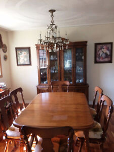 Dining Table With Six Chairs Two Leaves And Buffet Hutch