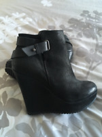 Aldo Leather Wedge Boots