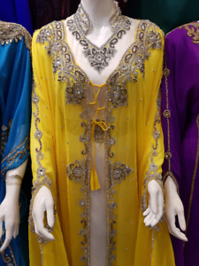 YELLOW KAFTAN, WEDDING DRESS,FANCY,FORMAL,MOROCCAN,PARTY WEAR