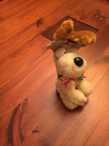 Garfield Odie plush 1978 Vintage with scarf and reindeer antlers