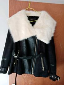 Black leather coat