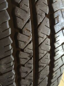 Set of 4 tires on a steel rims. 5 bolt. 205/70/15. M and  S.