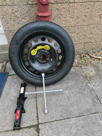 Spare wheel with jack/brace kit