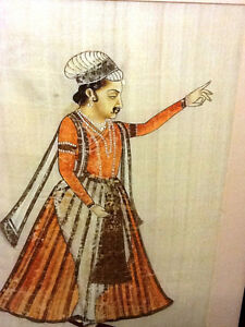 Antique/Vintage Mughal painting/hand painted/Silk cloth gold