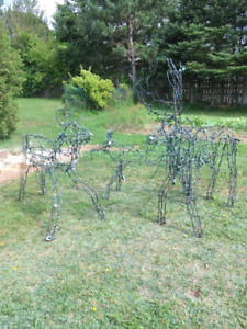 Locally made/welded, life sized  deer xmas lawn orniments.