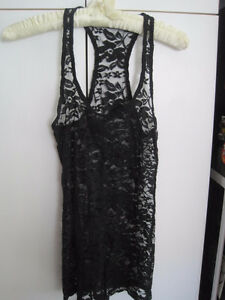 Black Lace T-Back Tank Top By Garage - Size Small/XS