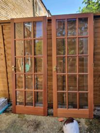 2 internal hardwood doors with glass