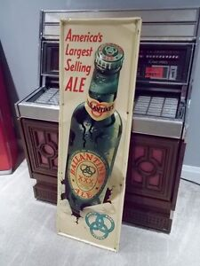 EMBOSSED TALL Early 50's Ballantine Ale Outdoor Tin Adv. Beer London Ontario image 2