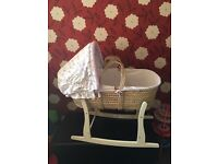 Vintage love and kisses moses basket with stand.