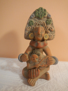 Mexican Art Pottery Aztec or Mayan Woman w/ Child Clay Figurine