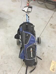 Boys golf clubs  with pull cart