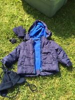 Boys size 4 winter coat hat and mitts