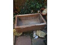 2 old salt glaze troughs ideal planters
