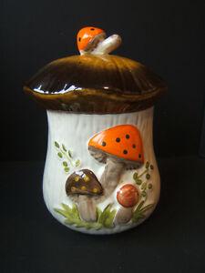 Mushroom Cookie Jar Retro Canister