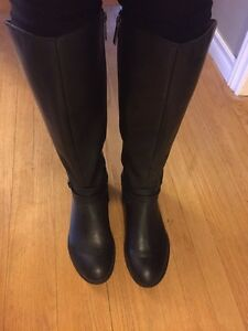 Real leather black tall knee winter boots