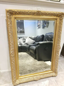 Large Decorative Wall Mirror - Gold coloured