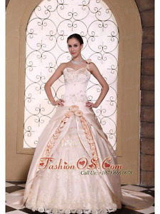Brand new champagne, satin/ lace wedding dress/gown. Size 12