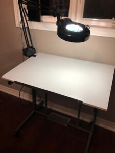 Drafting Table with Magnifying Lamp