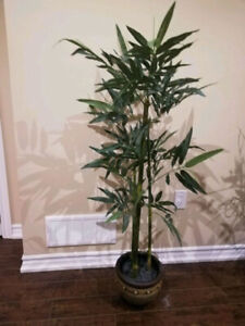 Artificial bamboo plant with vase