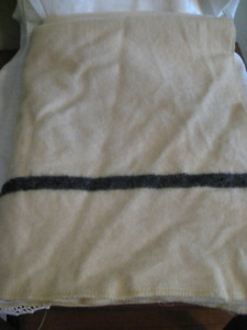 "1940's Cream All Wool Black Stripe Blanket 60"" by 80"""