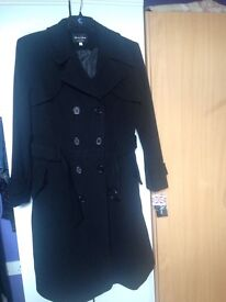 Brand New Black Fit And Flare Wool Coat. Size 14 With Labels. Never Worn.