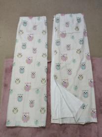 Dunelm Mill bedroom/playroom Owl design lined curtains