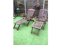 Solid wood folding lounger deck chairs
