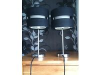 2 bedside table lamps black cream and silver