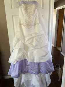 Ivory and Lavender Beaded Wedding Dress