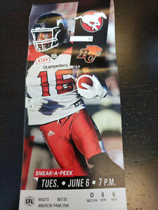 Two tickets - Stampeders vs Lions - June 6 - Section D Row 8
