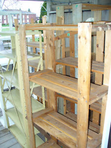 WOODEN AND METAL SHELVING
