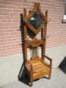 ANTIQUE HALL STAND SOLID ELM CIRCA 1890's