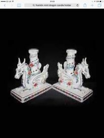 2 Franklin mint candle stick holders