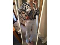 *BRAND NEW* Black, white & blue bodysuit