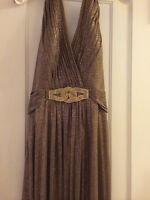 Brand New Cachet Shimmery Gold long Halter Neck Dress Size 8
