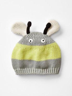 GAP Baby ~ Size Newborn ~ Gray Yellow Bumble Bee Sweater Beanie Hat ~ NWT