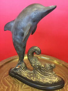Dolphin with wave, solid bronze